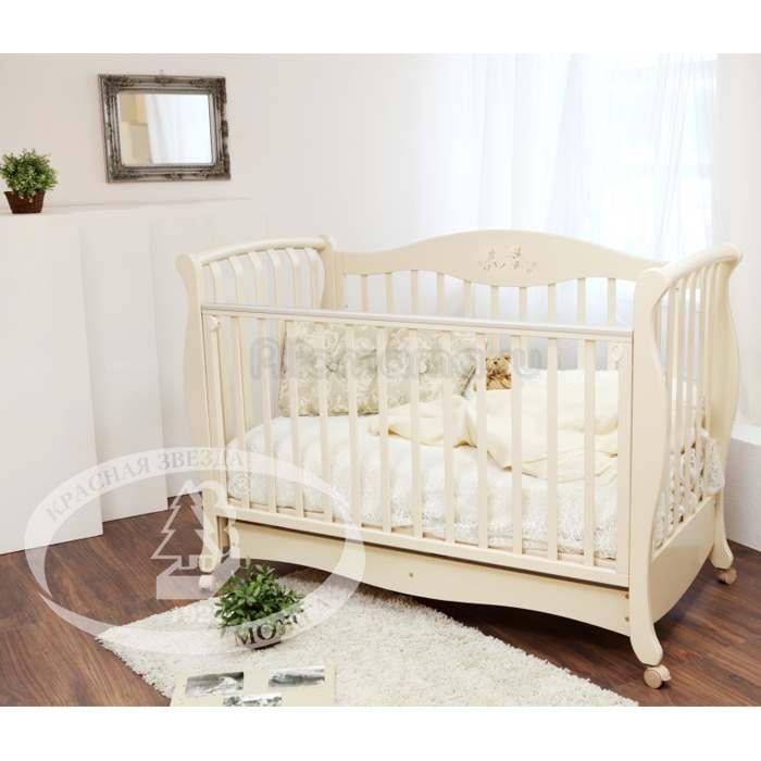Детская кроватка Красная Звезда (Можга) Елизавета С 553 (колесо) аппликация №27 Бабочки