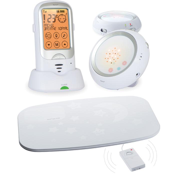 Радио-няня RAMILI Baby RA300DuoSP с двумя детскими блоками и монитором дыхания