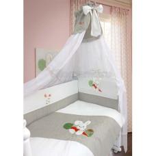 Комплект в кроватку LABEILLEBABY Зайка льняной 7 предметов вышивка